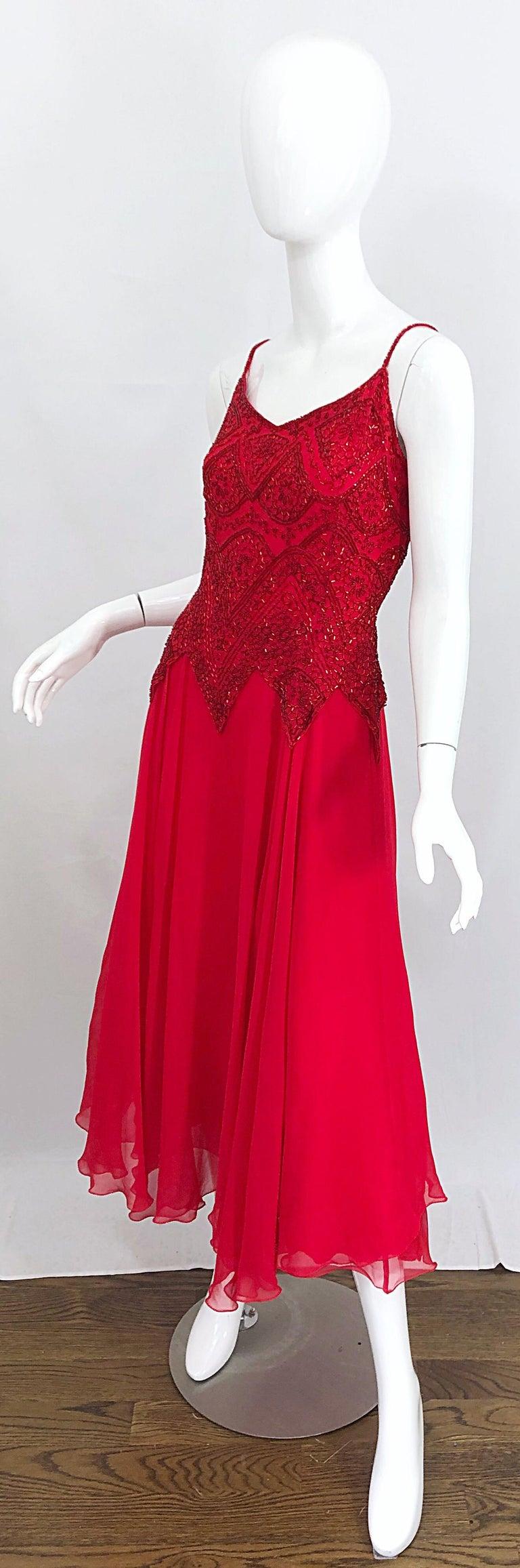 1970s Oleg Cassini Size 10 / 12 Red Silk Chiffon Beaded Handkerchief Midi Dress For Sale 6