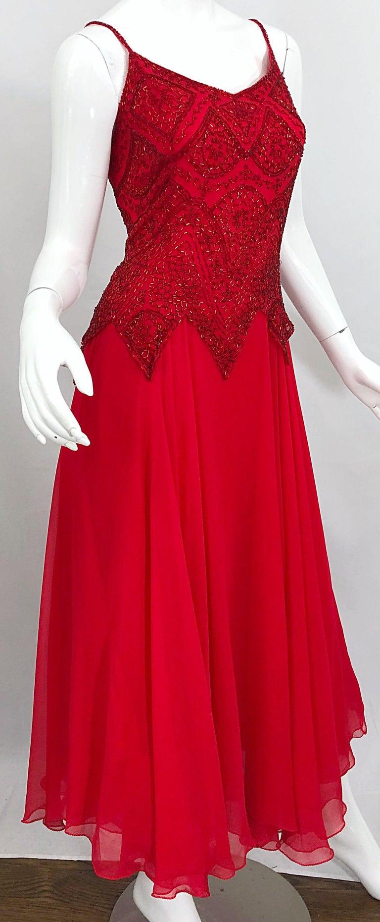 1970s Oleg Cassini Size 10 / 12 Red Silk Chiffon Beaded Handkerchief Midi Dress For Sale 8