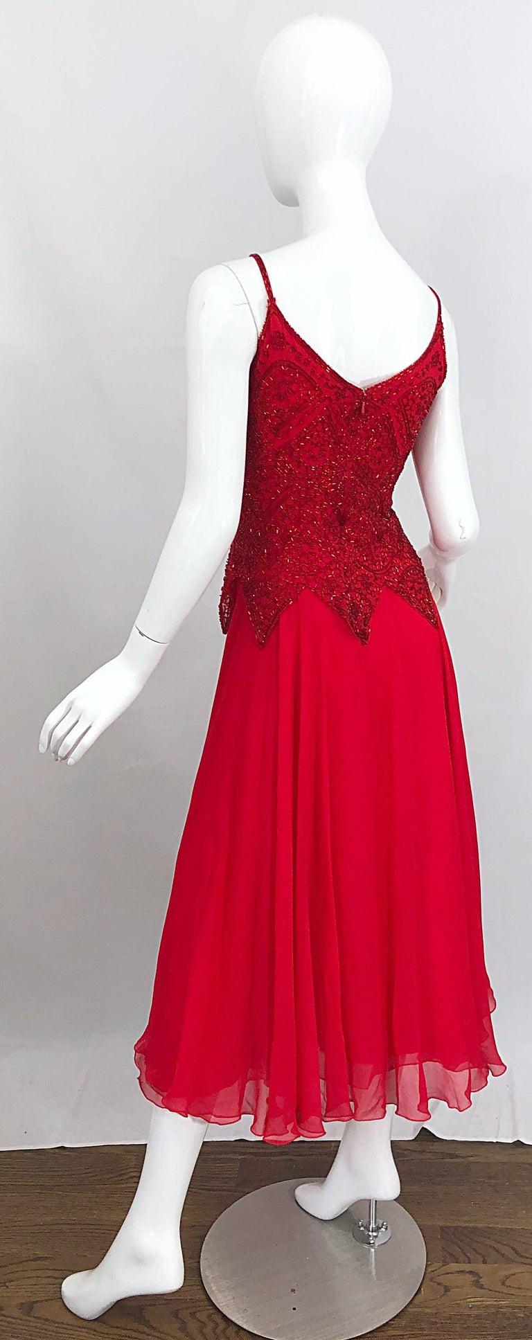 1970s Oleg Cassini Size 10 / 12 Red Silk Chiffon Beaded Handkerchief Midi Dress For Sale 9