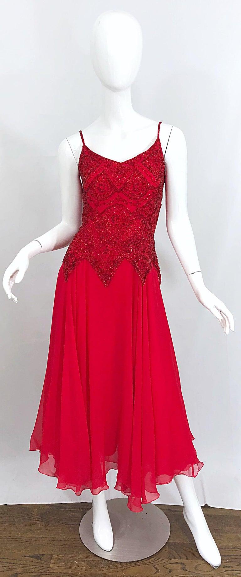 1970s Oleg Cassini Size 10 / 12 Red Silk Chiffon Beaded Handkerchief Midi Dress For Sale 10