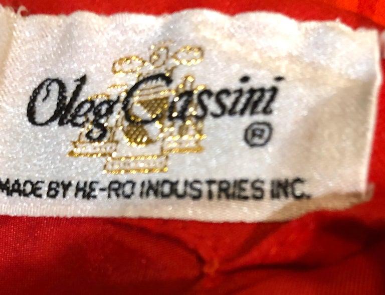 1970s Oleg Cassini Size 10 / 12 Red Silk Chiffon Beaded Handkerchief Midi Dress In Excellent Condition For Sale In Chicago, IL