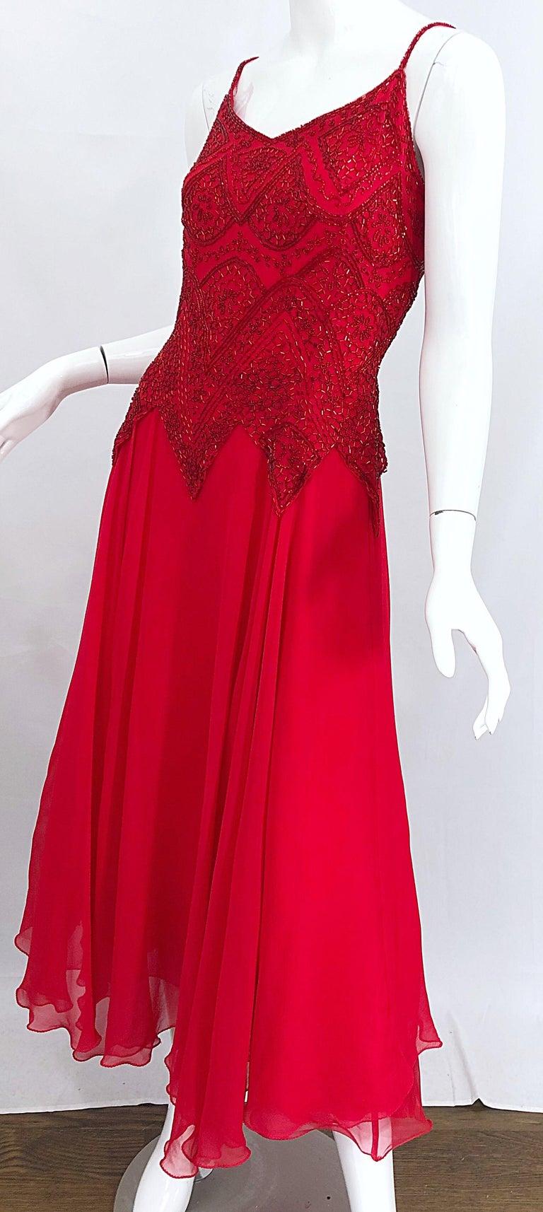 1970s Oleg Cassini Size 10 / 12 Red Silk Chiffon Beaded Handkerchief Midi Dress For Sale 3