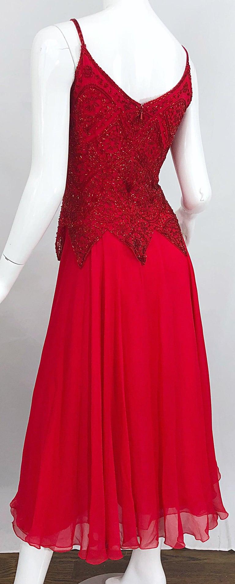 1970s Oleg Cassini Size 10 / 12 Red Silk Chiffon Beaded Handkerchief Midi Dress For Sale 4