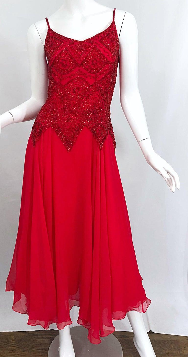 1970s Oleg Cassini Size 10 / 12 Red Silk Chiffon Beaded Handkerchief Midi Dress For Sale 5