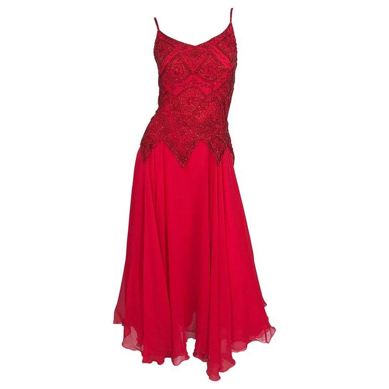 1970s Oleg Cassini Size 10 / 12 Red Silk Chiffon Beaded Handkerchief Midi Dress For Sale