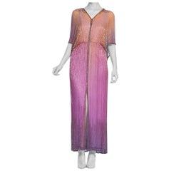 1970's Ombre Purple Pastel Tie-Dyed Bugle Beaded Halston Style Silk Chiffon