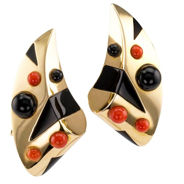 1970s Onyx Coral Modernist Gold Earrings