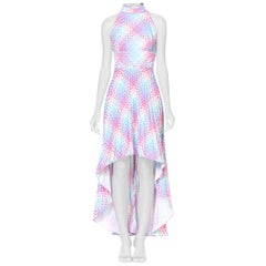 1970's OP-Art Pastel Rainbow Geometric Poly Disco Dress