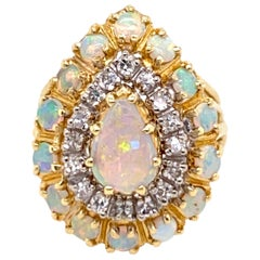 1970s Opal and Diamond Ring