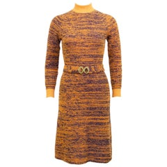 1970s Orange and Navy Marled Knit Dress