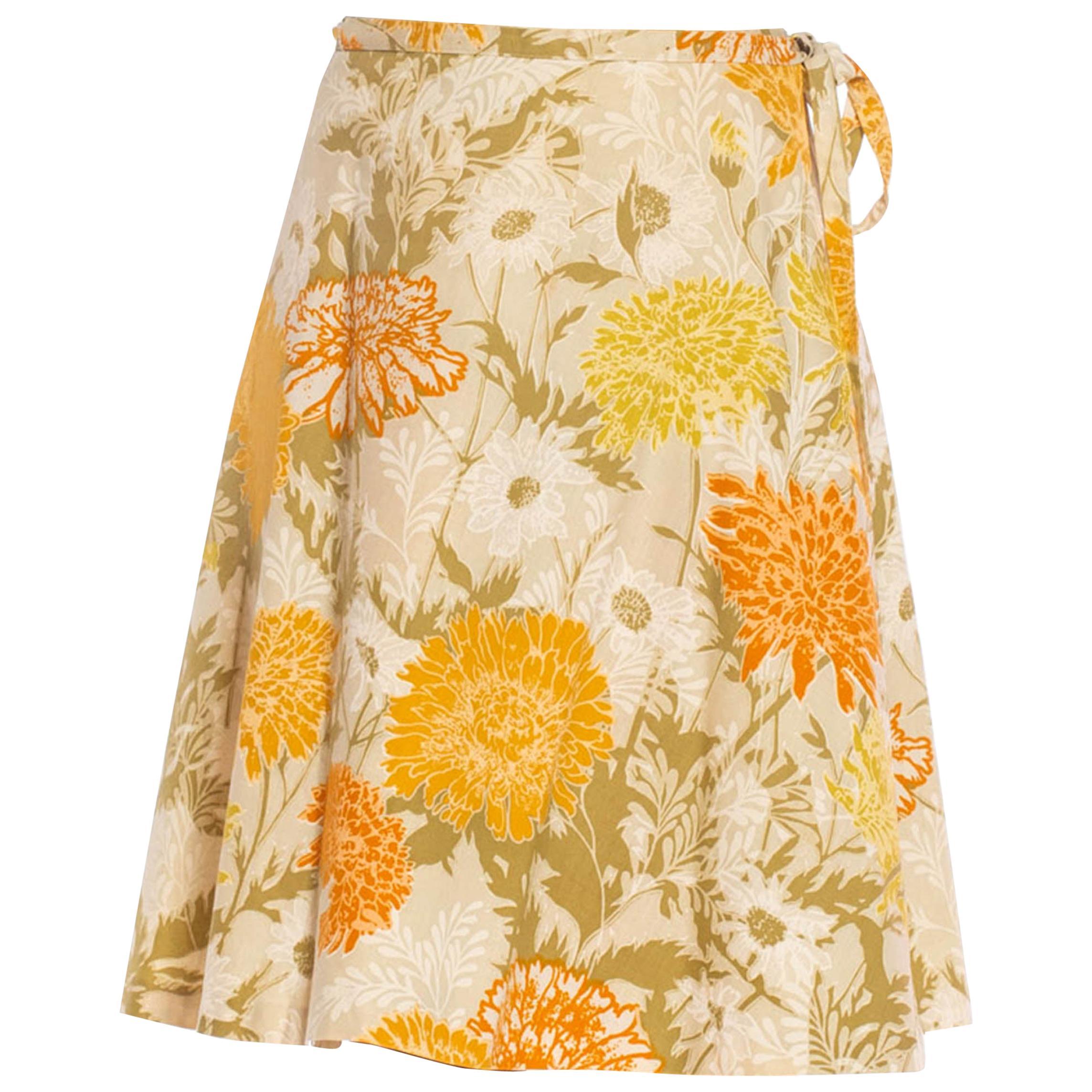 1970S Orange & Beige Cotton Floral Wrap Skirt