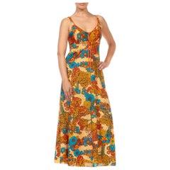 1970S Orange & Blue Multi  Nylon Psychedelic Floral Print Dress