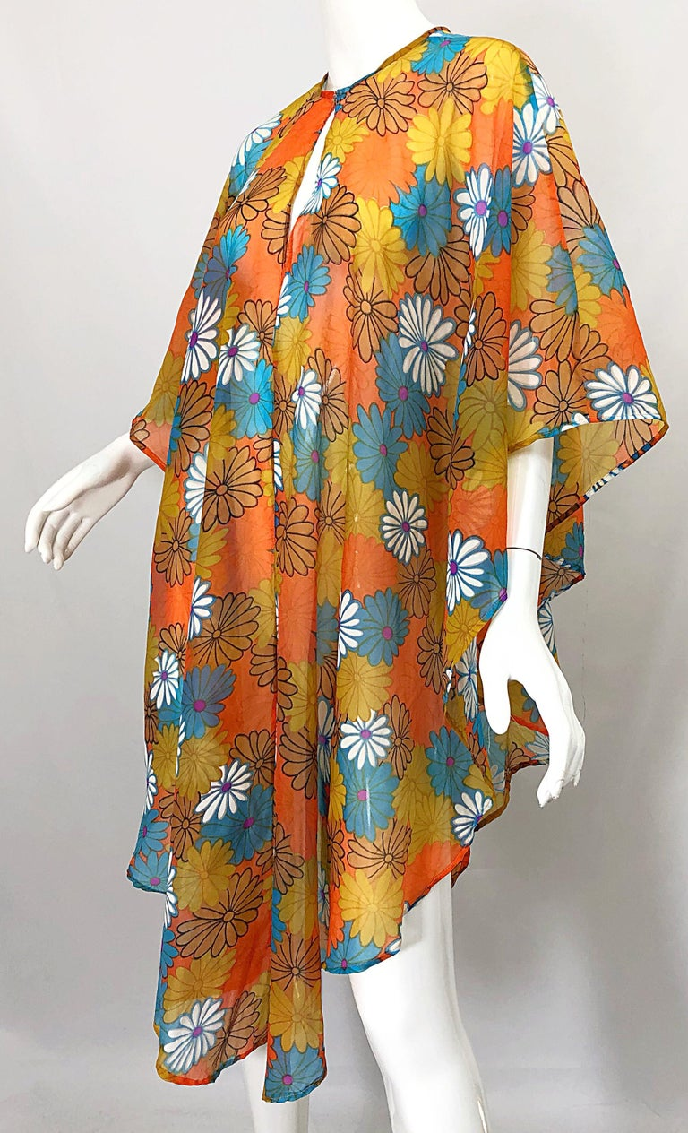 1970s Orange + Blue + Purple Flower Power Chiffon Semi Sheer Vintage 70s Poncho For Sale 7