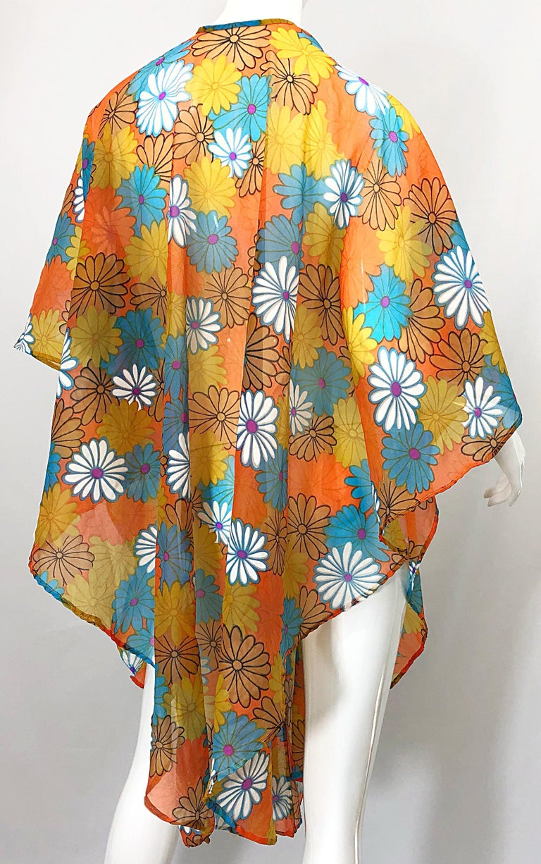 1970s Orange + Blue + Purple Flower Power Chiffon Semi Sheer Vintage 70s Poncho In Excellent Condition For Sale In Chicago, IL
