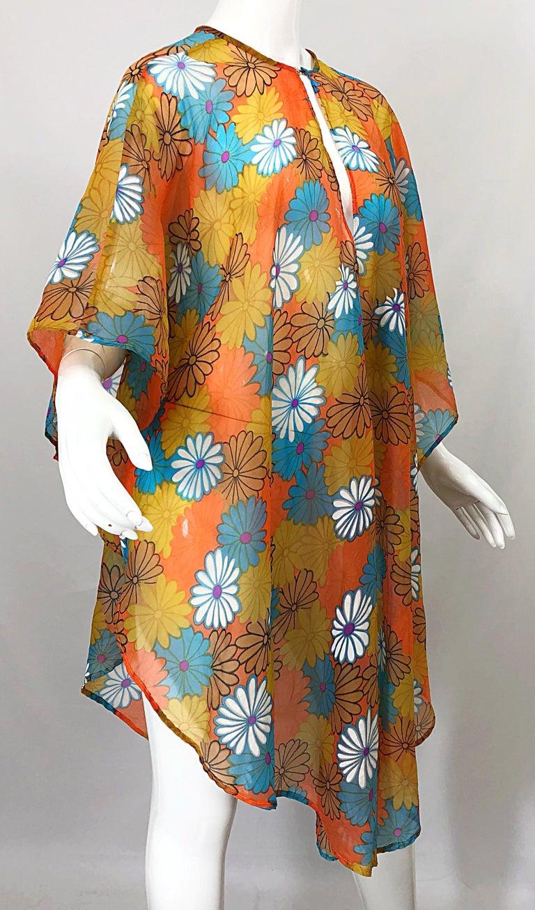 1970s Orange + Blue + Purple Flower Power Chiffon Semi Sheer Vintage 70s Poncho For Sale 3