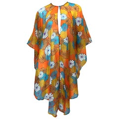1970s Orange + Blue + Purple Flower Power Chiffon Semi Sheer Vintage 70s Poncho