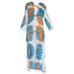 1970's Orange Blue & White Tie Dye Cotton Dress