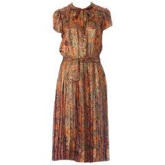 1970S Orange & Brown Silk Lurex Chiffon Day To Night Cocktail Dress