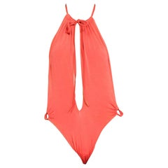 1970S Orange Cut Out Sexy Halter  Swimsuit