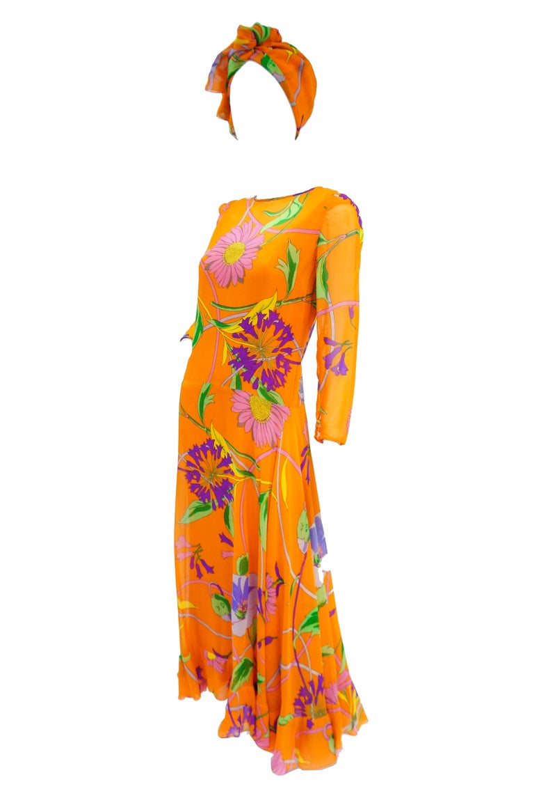 1970s Orange Floral Bias Cut Semi Sheer Dress with Oversized Shawl In Excellent Condition For Sale In Houston, TX