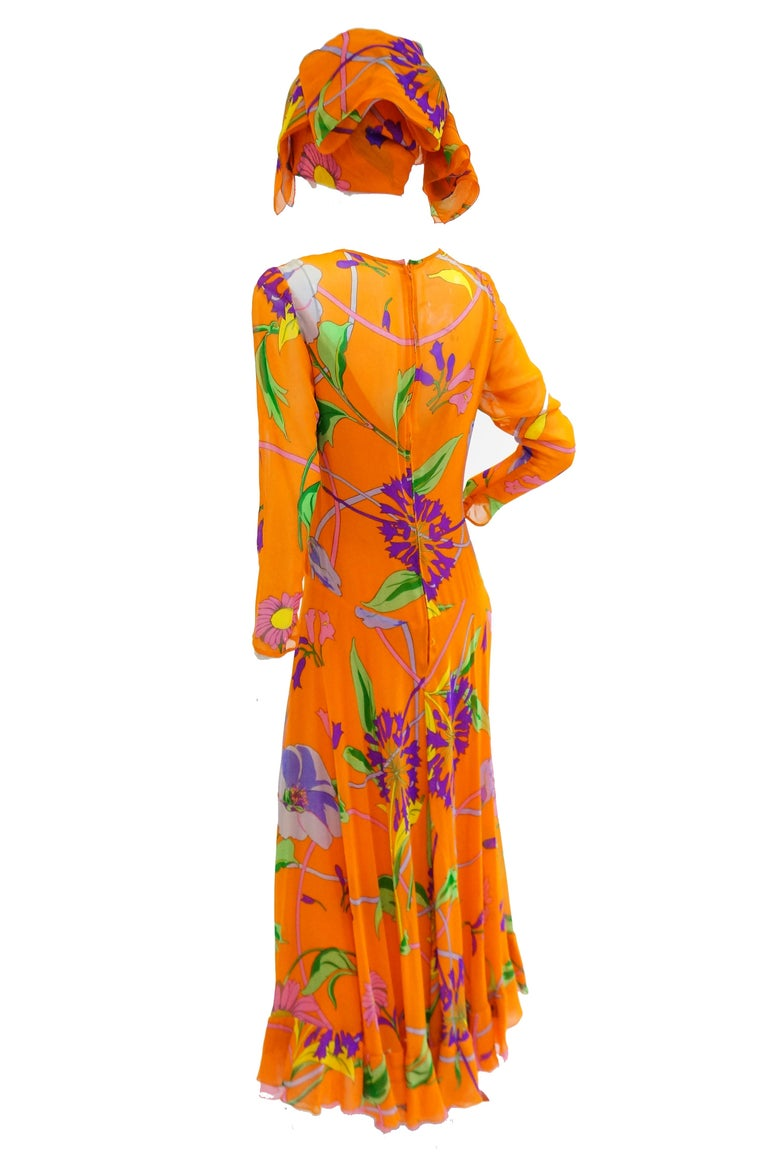1970s Orange Floral Bias Cut Semi Sheer Dress with Oversized Shawl For Sale 1