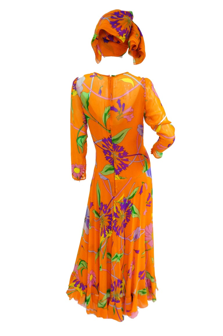 1970s Orange Floral Bias Cut Semi Sheer Dress with Oversized Shawl For Sale 2