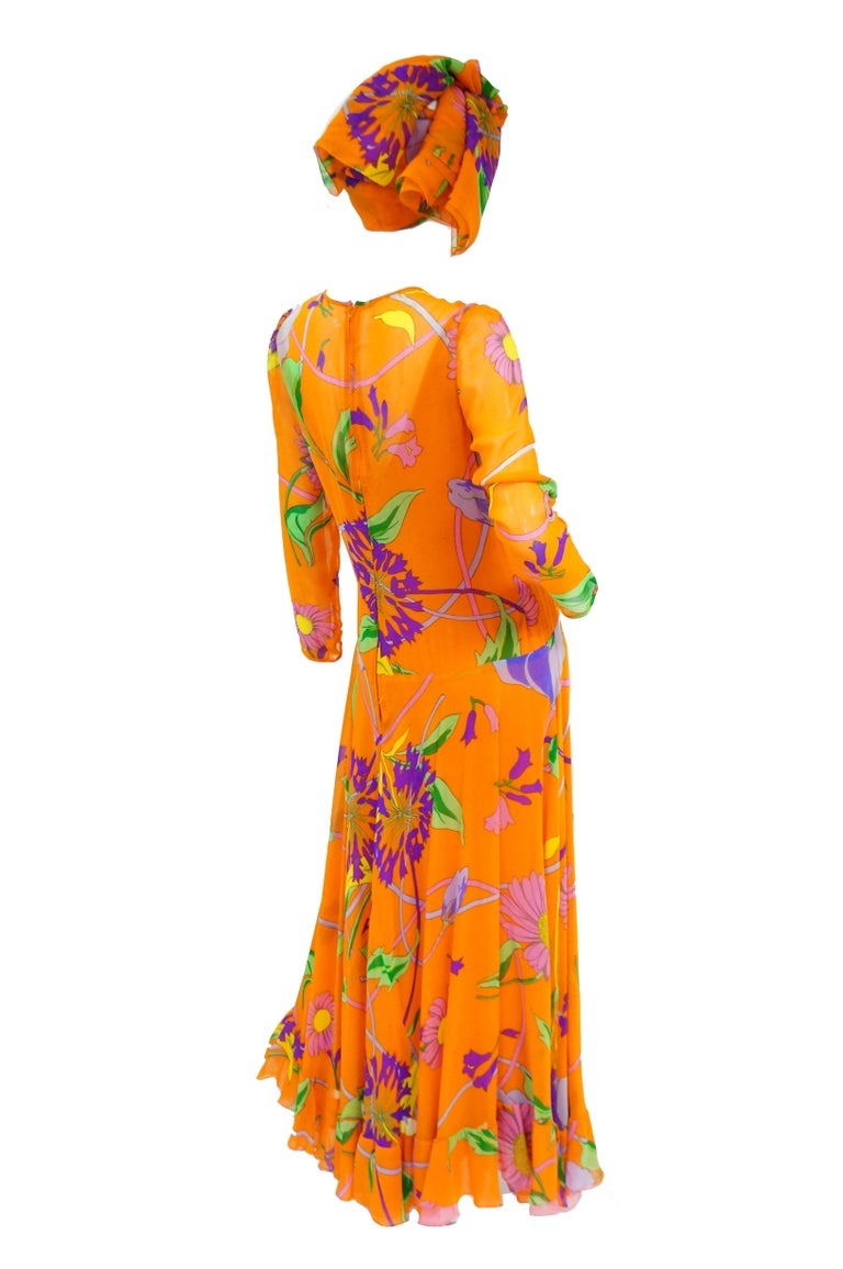 1970s Orange Floral Bias Cut Semi Sheer Dress with Oversized Shawl For Sale 3