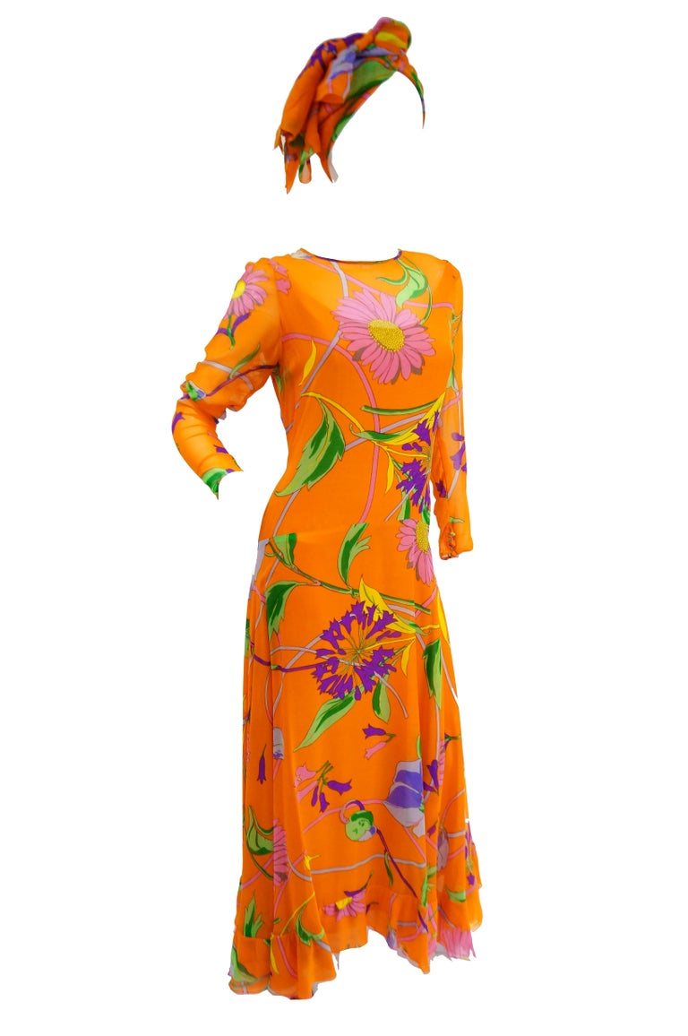 1970s Orange Floral Bias Cut Semi Sheer Dress with Oversized Shawl For Sale 4