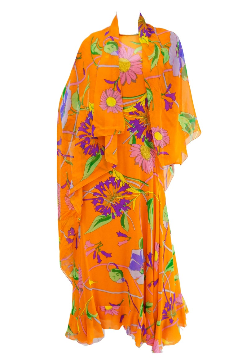 1970s Orange Floral Bias Cut Semi Sheer Dress with Oversized Shawl For Sale 5
