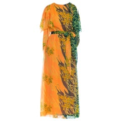 1970S Orange & Green Polyester Chiffon Kaftan With Matching Scarf Belt