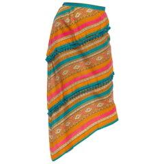 1970'S Orange & Pink Linen Paisley Stripe Bias Cut Skirt With Teal Pom Poms