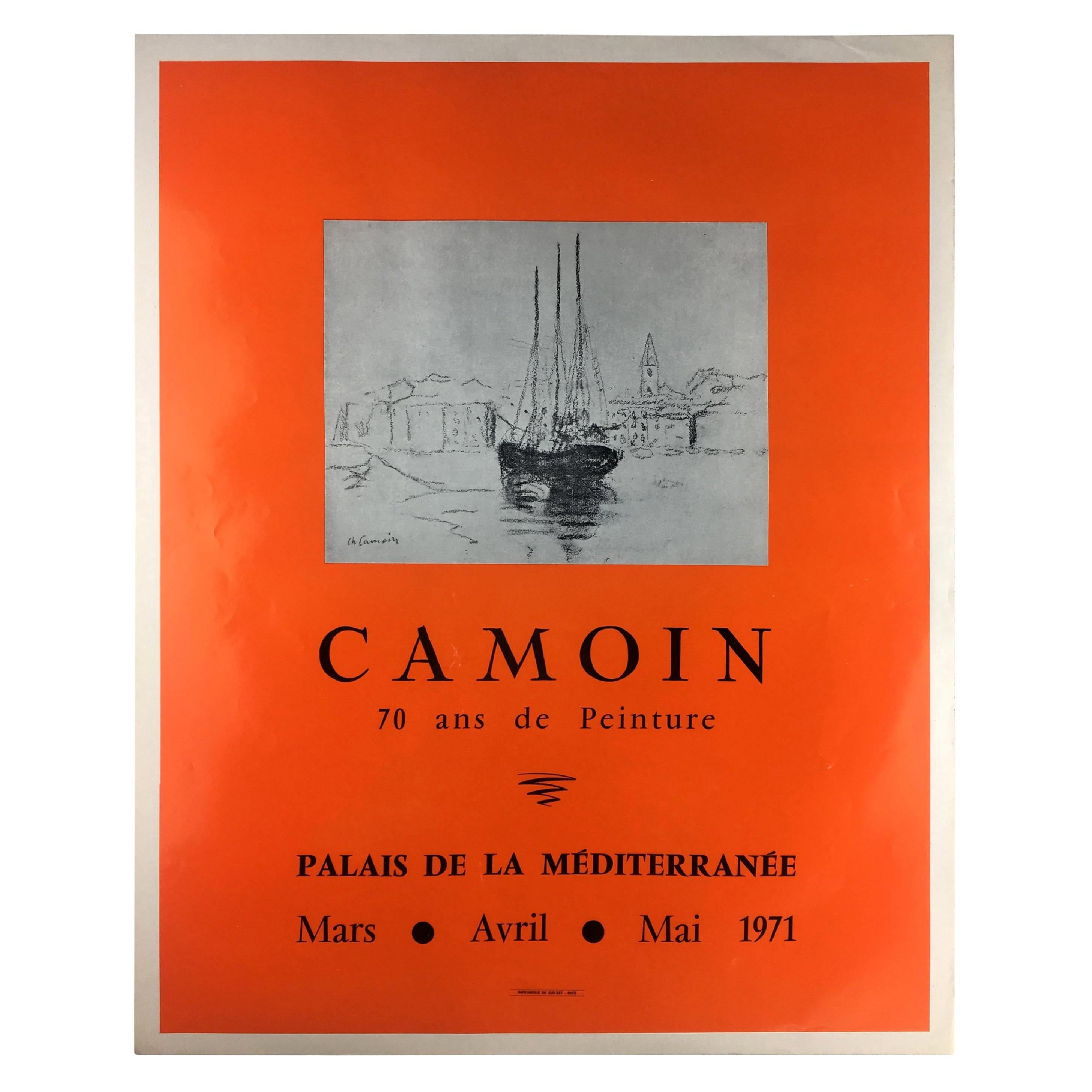 1970s Original Charles Camoin Seascape Art Exhibiton Poster