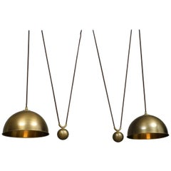 1970s Original Florian Schulz Posa Brass Double Drawbar Ceiling Lamp
