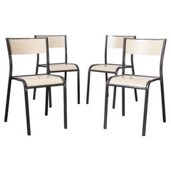 1970's Original French Stacking Mullca Dining Chairs, Set of Four