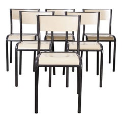 1970's Original French Stacking Mullca Dining Chairs, Set of Six