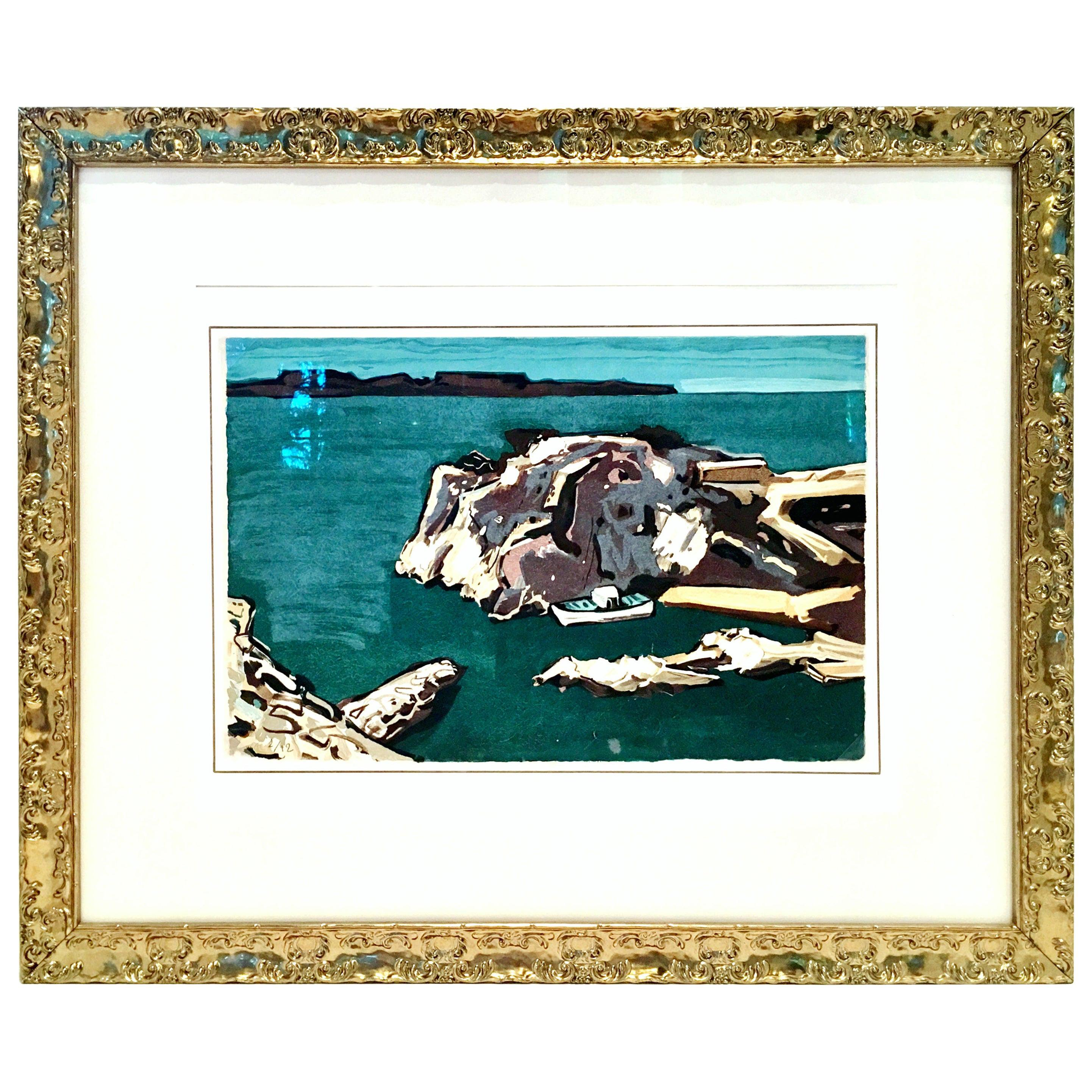 """1970s Original Limited Edition Lithograph """"Niolon"""" by Jean-Claude Quilici"""