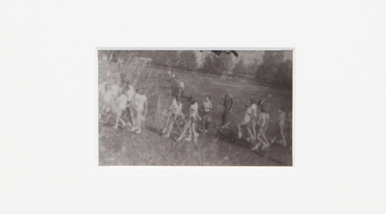 Original Miroslav Tichý b/w photography from 1970. Unique vintage gelatin silver print. Including black wooden frame in H 20.5 / W 25.5 cm. This motif describes women photographed during the gymnastics lesson in the park.  Miroslav Tichý was a