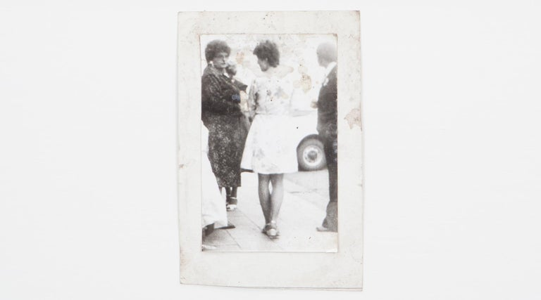 Original Miroslav Tichý b/w Photography from 1970. Unique vintage gelatin silver print. Including black wooden frame in H 35.5 / W 26.5 cm. The picture shows a street scene focused on two women.  Miroslav Tichý was a Czech photographer who