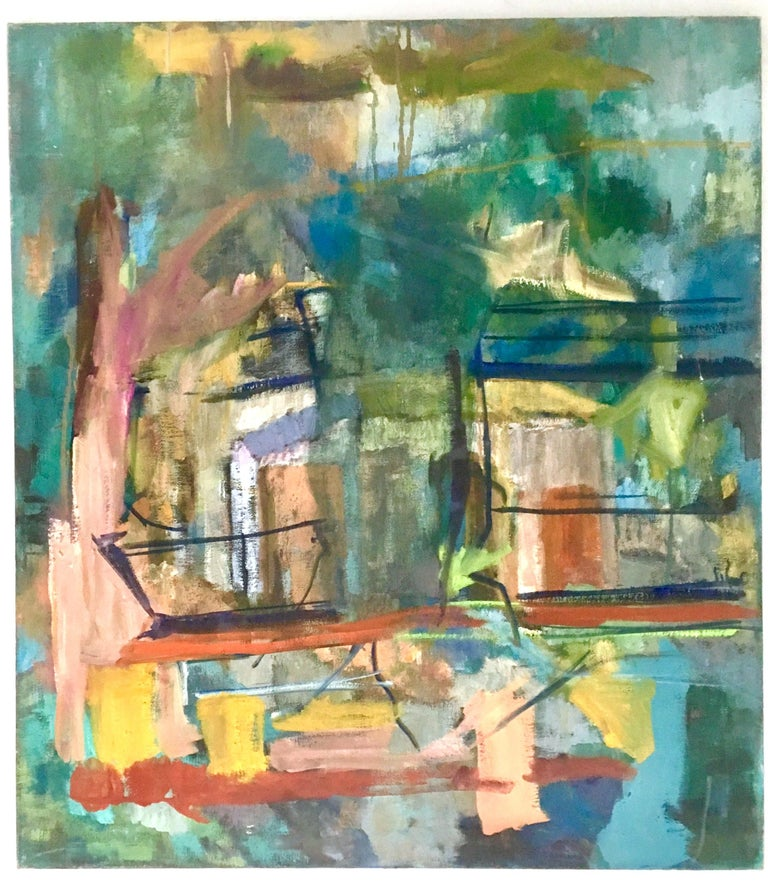 1970s original oil on canvas abstract painting by Lynn Reimholz. This stretched on wood back frame canvas abstract painting features a vibrant color palette of an abstract house. Signed on the reverso, Reimholz.