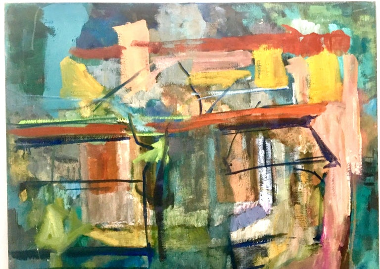 1970s Original Oil on Canvas Abstract Painting by Lynn Reimholz In Good Condition In West Palm Beach, FL