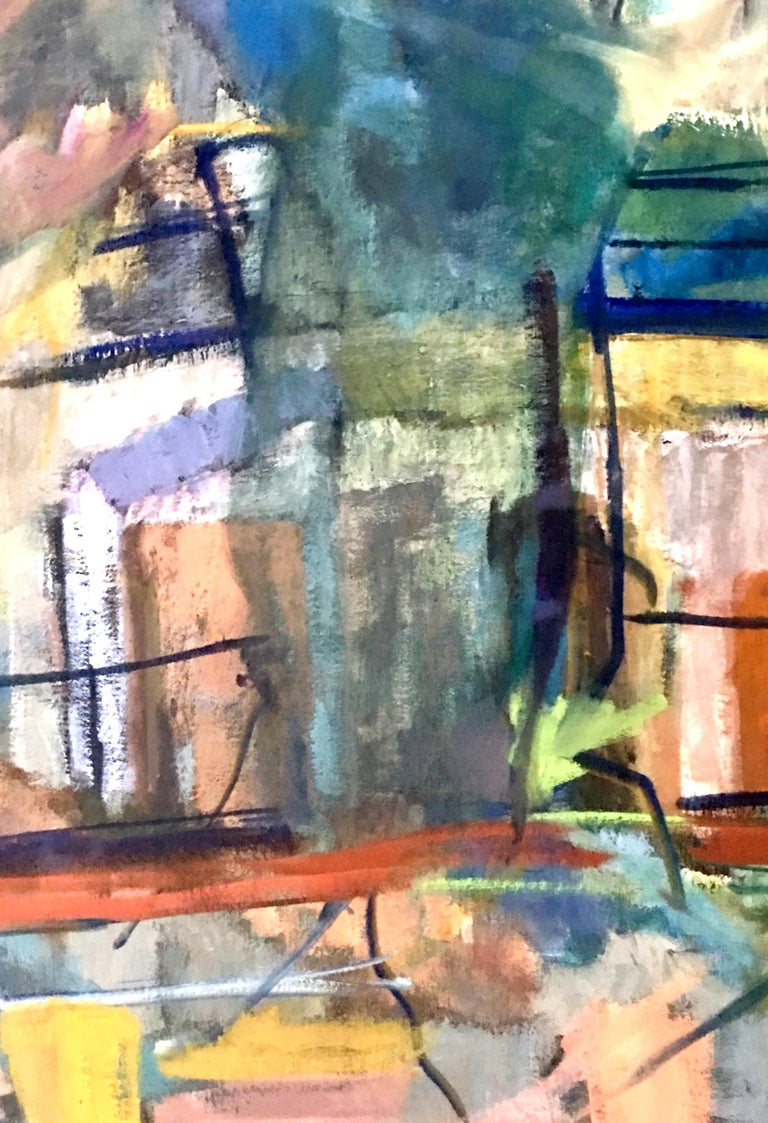 1970s Original Oil on Canvas Abstract Painting by Lynn Reimholz 1
