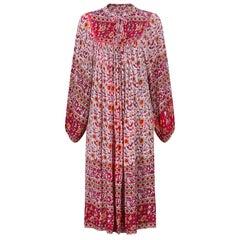1970s Original Paisley Print Indian Block Work Dress