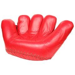 1970s Original Rare Red Leather Poltronova Joe Baseball Glove Chair