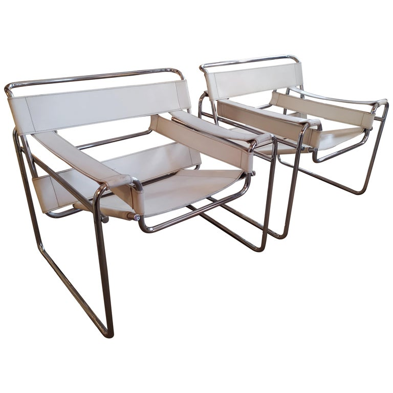"1970s Original White Marcel Brauer ""Wassily"" Chairs For Sale"