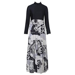 1970s Oscar de la Renta Black/Abstract Print Maxi Dress