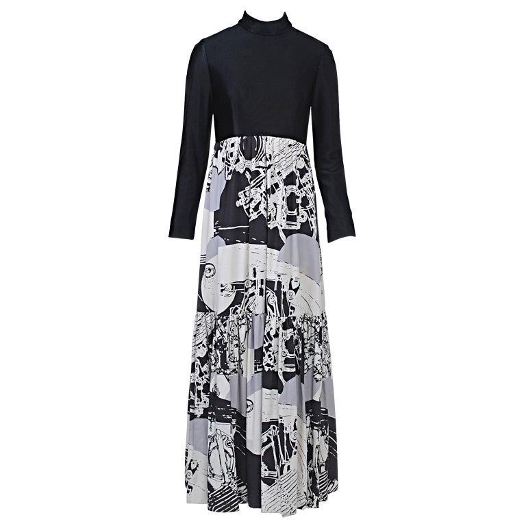 1970s Oscar de la Renta Black/Abstract Print Maxi Dress For Sale