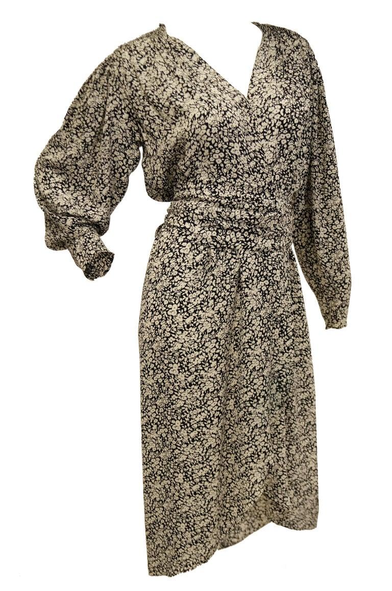 Brown 1970s Oscar de la Renta Navy and White Silk Wrap Dress with Floral Print For Sale