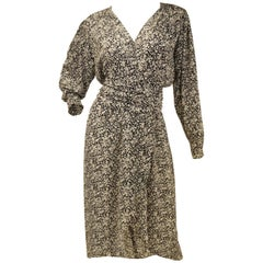 1970s Oscar de la Renta Navy and White Silk Wrap Dress with Floral Print