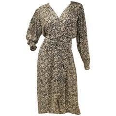 1970s Oscar de la Renta Navy and White Silk Wrap Dress with Floral Print