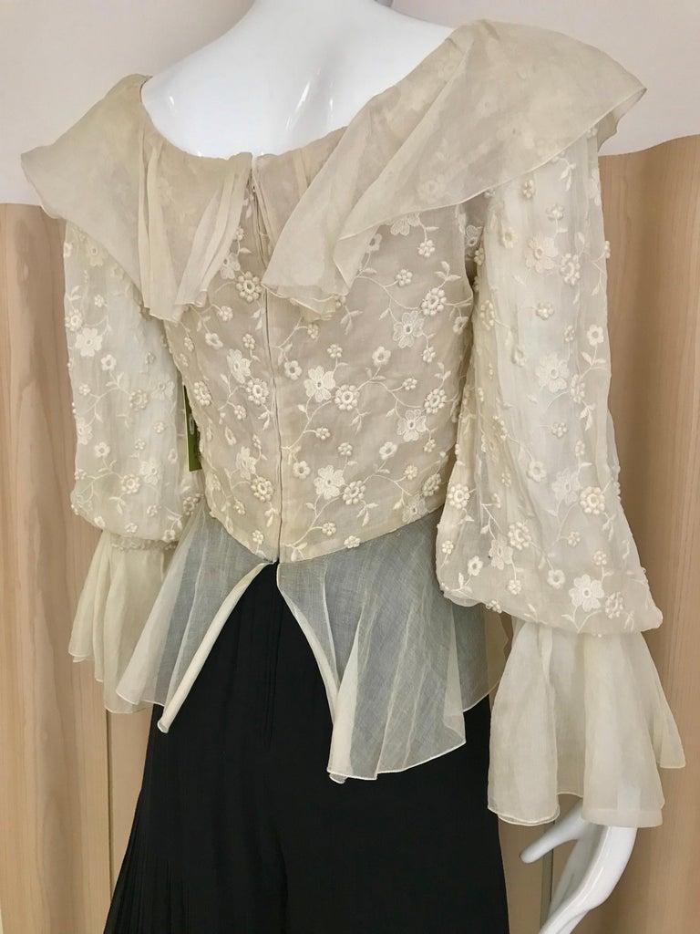 1970s Oscar De La Renta Creme and Black Silk Plisse Jumpsuit For Sale 7